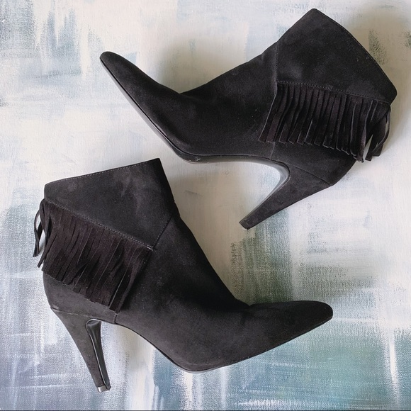 Nine West Pureheart Fringed Suede Ankle Boots